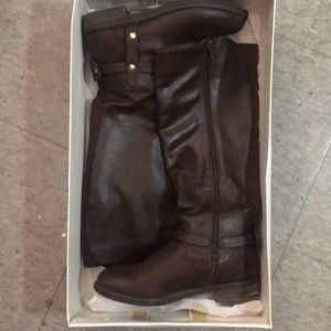Steve Madden Energee Vegan Riding Boots in Brown
